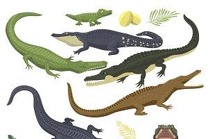 Crocodile reptile flat vector
