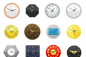 Clock face vector set
