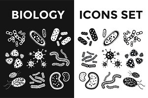 Virus black and white vector icons