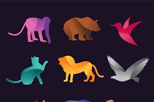 Animal zoo vector icons