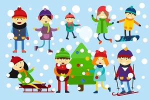 Christmas kids playing vector