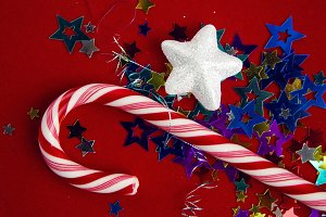 Christmas candy lying on the small stars