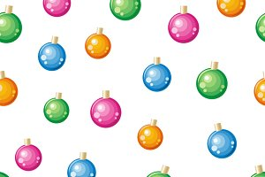 Christmas Tree Toys Seamless Pattern