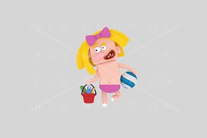 3d illustration. Girl bather.