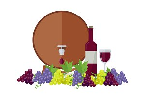 Wooden Barrel with Wine