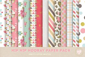 Hip Hip Hooray Digital Paper Pack