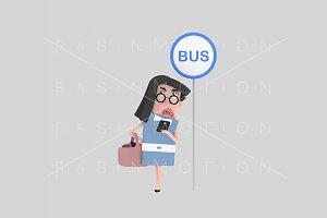 3d illustration. Bus stop.