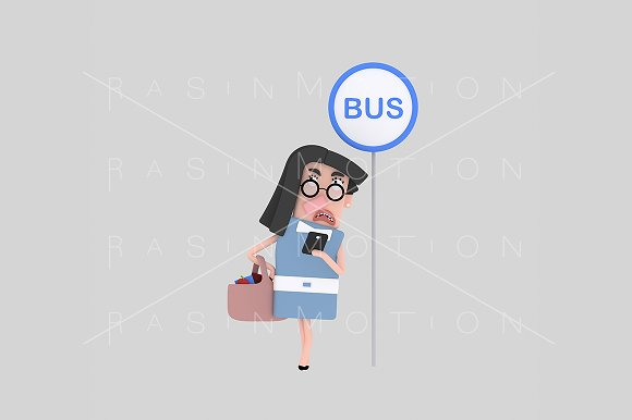 3d illustration. Bus stop. - Illustrations