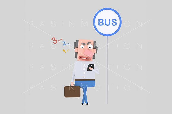 3d illustration. Bus stop. - Illustrations