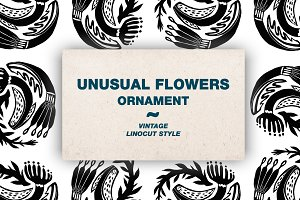 Unusual floral ornament. Linocut