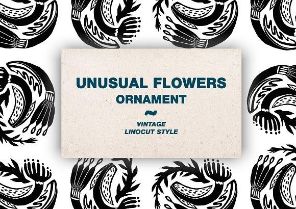 Unusual floral ornament. Linocut  - Illustrations