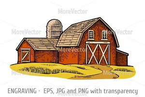 Organic farm. Vector engraving