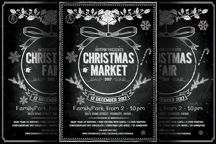 Christmas Contest Flyer.Vintage Christmas Event Flyer Flyer Templates Creative