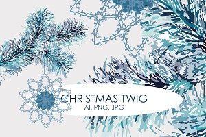 Design Element - Christmas Twig
