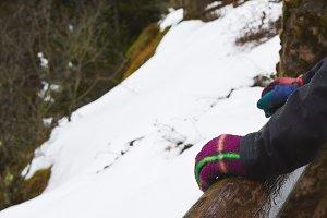 Hands Woman in Winter gloves Winter