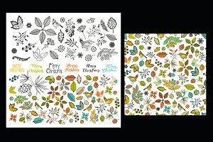 Seamless pattern, floral set elemens