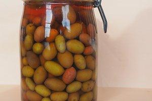 Olives vegetables in brine