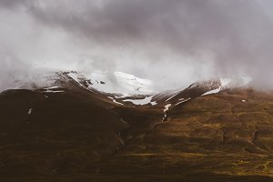 Snowy Mountains in Autumn Light