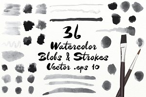 Vector Watercolor Blobs & Strokes