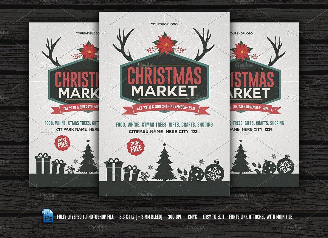 Christmas Market Flyer Flyer Templates Creative Market