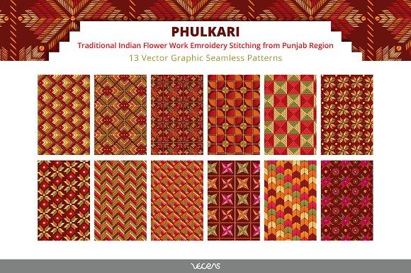 Phulkari Embroidery Patterns Graphic Patterns Creative Market