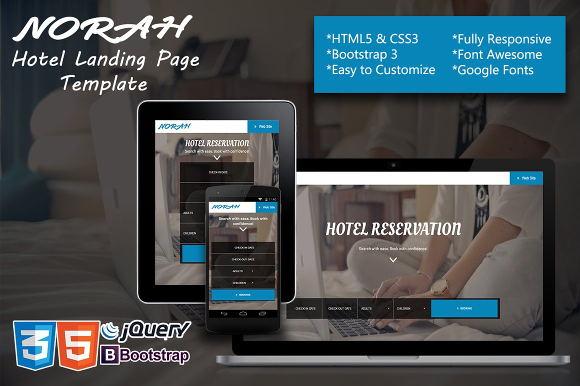 Norah - Hotel Landing page Template ~ Bootstrap Themes ~ Creative Market