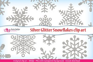Silver Glitter Snowflakes clipart