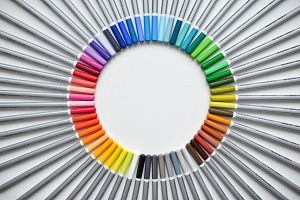 pencils laid out by color
