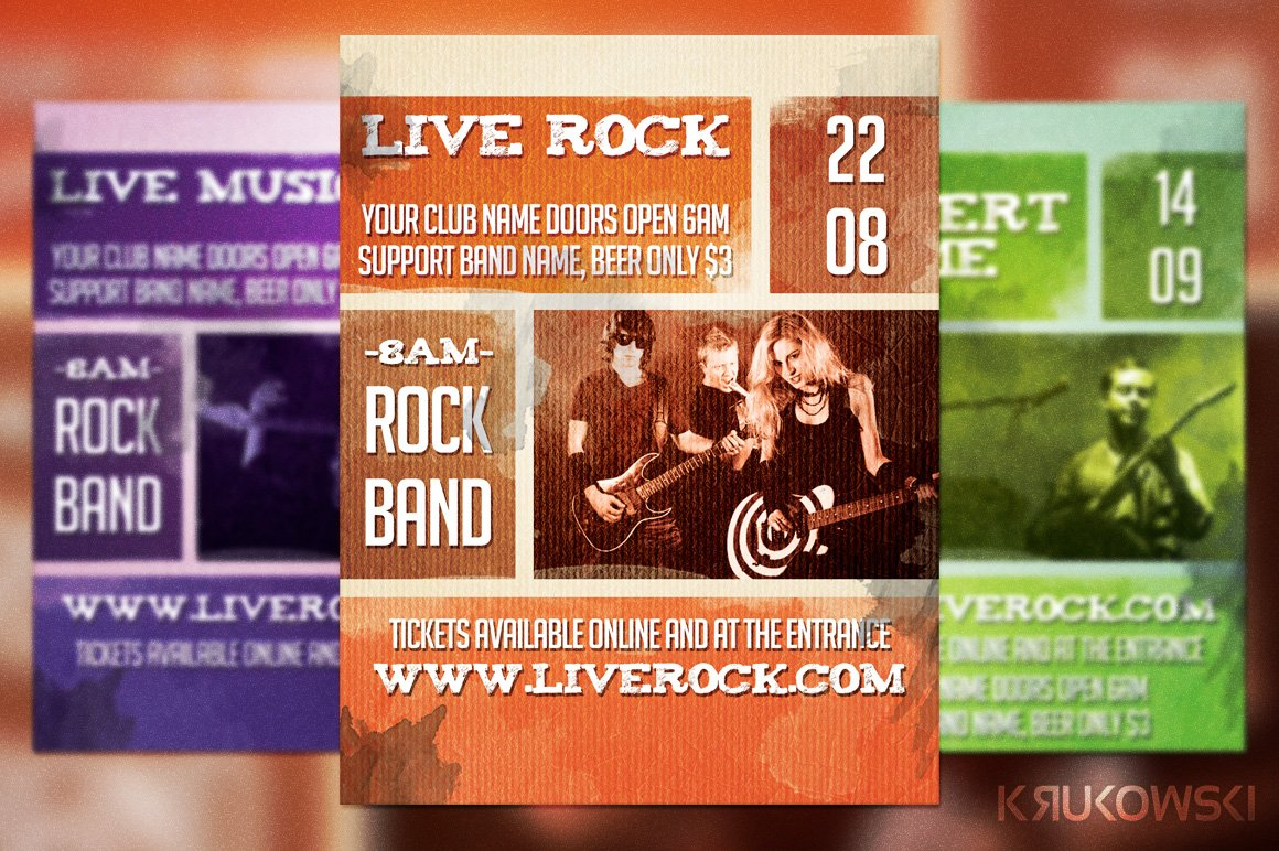 Live Rock Band Flyer Template Flyer Templates Creative Market
