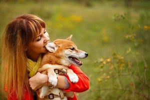 Girl bites an ear Shiba Inu dog