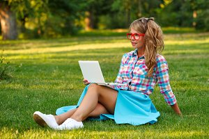 Girl with laptop.
