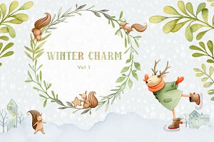 Winter Charm Vol 1 - Watercolor Deer