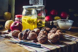 Walnuts on rustic table