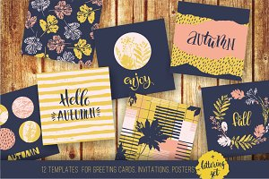 Set of 12 autumn templates