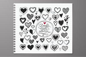 Doodle sketch hearts