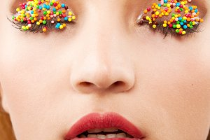 woman with bright easter makeup