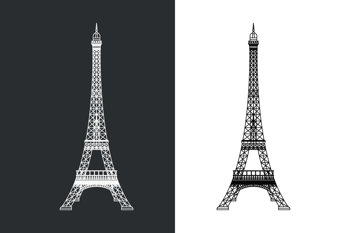 Outline Eiffel Tower Illustration Custom Designed Illustrations