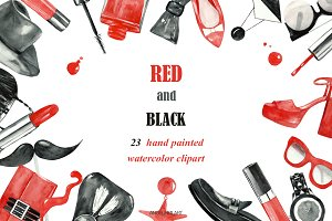 watercolor fashion clipart red black
