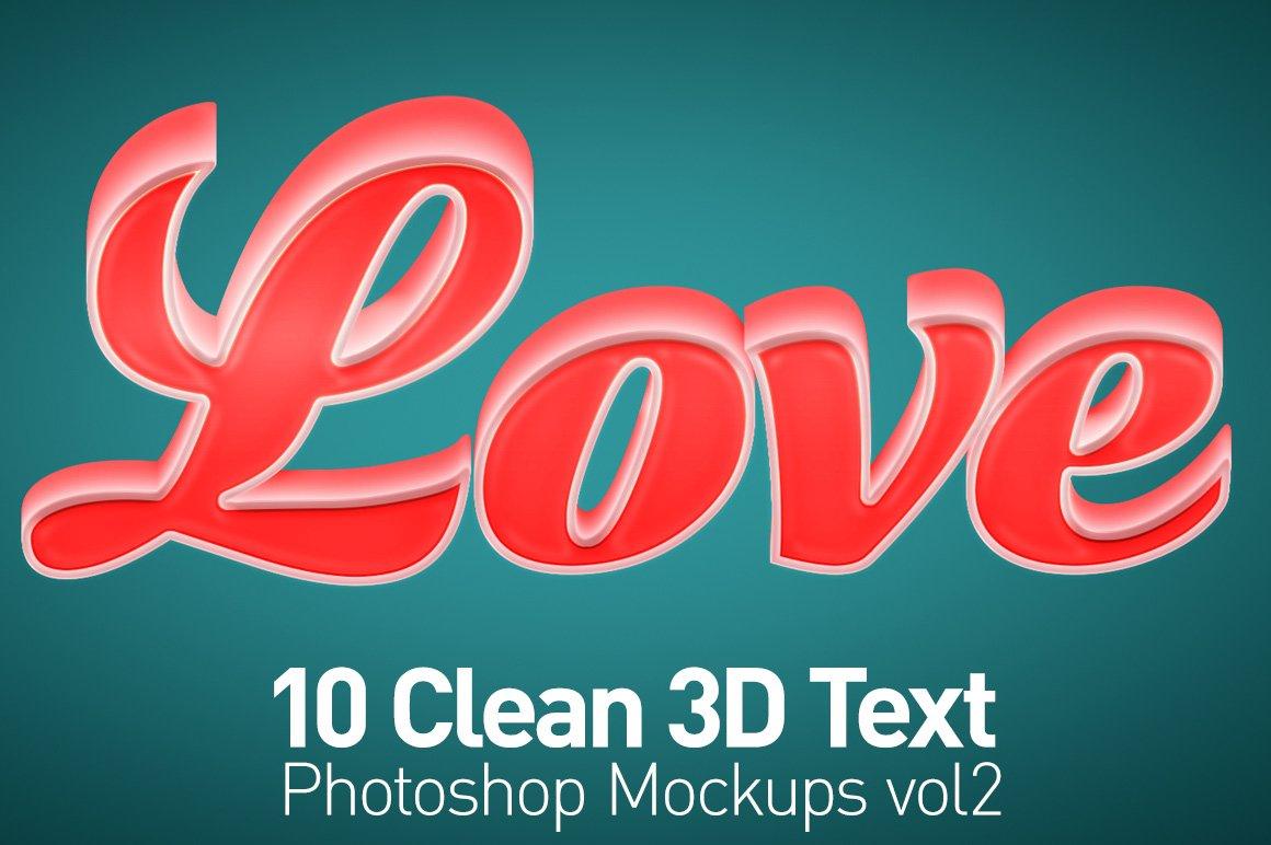 Clean 3D Photoshop Text Mockups Vol2 ~ Mockup Templates ~ Creative