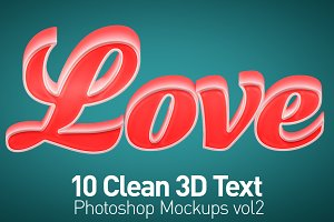 Clean 3D Photoshop Text Mockups Vol2