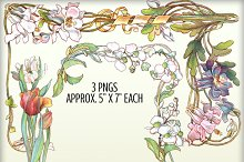 Watercolor Floral Borders - Set #1