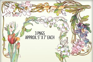 Watercolor Floral Borders - Set #1