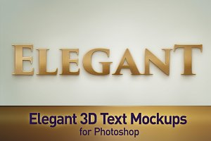 Elegant 3D Text Photoshop Mockups