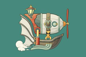 Cartoon steampunk styled airship