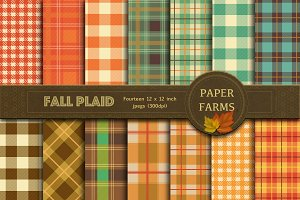 Fall plaid digital paper