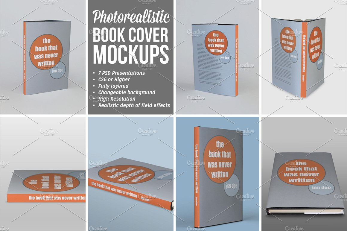 Book Cover Paper Size ~ Photorealistic book cover mockups product