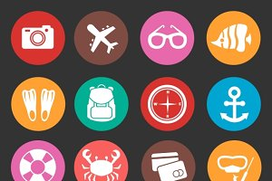 Holiday travel tourism vector icons