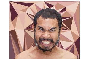 Angry man face in triangular style