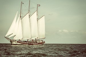 Big Dutch traditional sailing ship