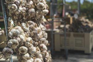 Braided dry garlic on the market